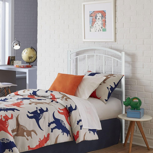 Rylan Cotton White Twin Metal Kids Headboard
