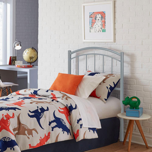 Fashion Bed Group Rylan Shadow Gray Twin Metal Kids Headboard