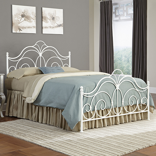 Rhapsody Glossy White Queen Bed with Curved Grill Design and Finial Posts