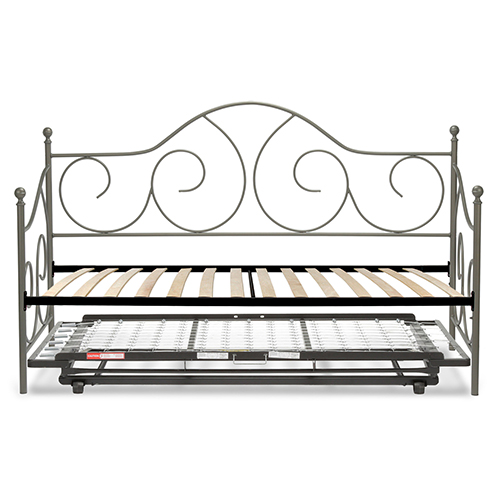 Caroline Flint Twin Complete Metal Daybed with Euro Top Deck and Trundle Bed Pop-Up Frame