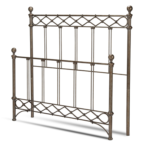 Argyle Copper Chrome Queen Bed with Round Finial Posts and Diamond Wire Metal Grill Design