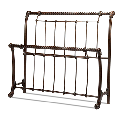 Legion Ancient Gold Queen Bed with Metal Sleigh Panels and Twisted Rope Top Rails