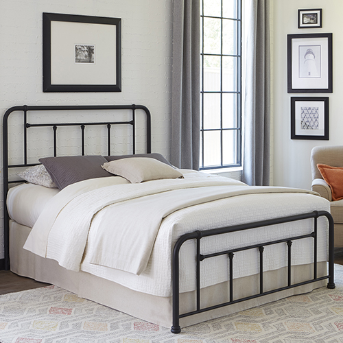Baldwin Textured Black Queen Bed with Metal Posts and Detailed Castings