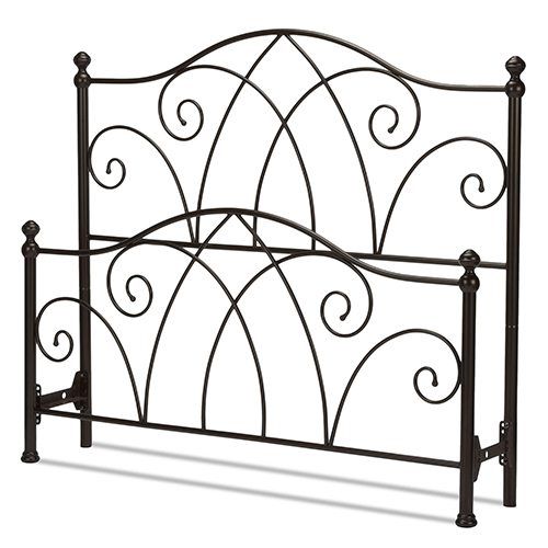 Deland Brown Sparkle King Bed with Curved Grill Design and Finial Posts