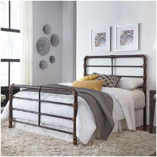 Everett Brushed Copper Complete Queen Bed with Metal Pipe Frame Design