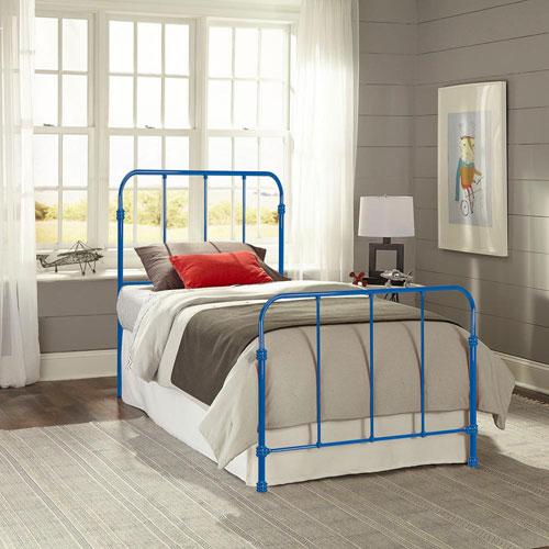 Nolan Cobalt Blue Kids Twin Bed with Metal Duo Panels