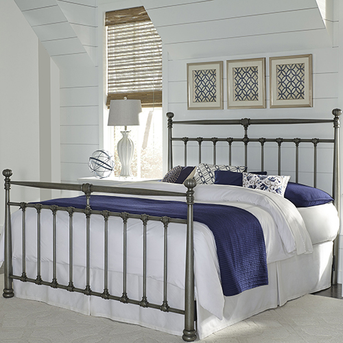 Kensington Vintage Silver Complete Queen Metal Bed with Stately Posts and Detailed Castings