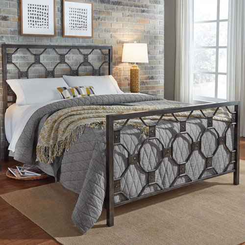 Fashion Bed Group Baxter Rustic Brass Queen Bed Frame