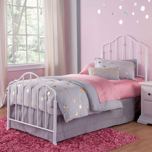 Fashion Bed Group Lorna Warm White Twin Complete Kids Bed with Metal Duo Panels and Accented Spindles