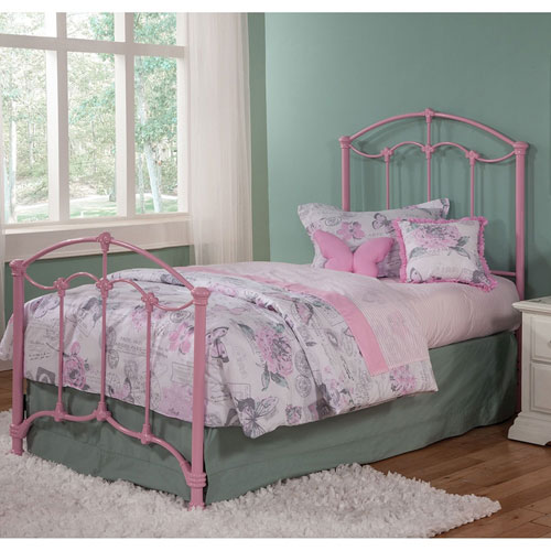 Amberley Pastel Pink Full Kids Bed with Metal Duo Panels and Floral Medallions Accents