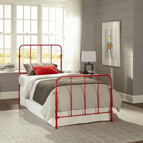 Fashion Bed Group Nolan Candy Red Full Complete Kids Bed with Metal Duo Panels