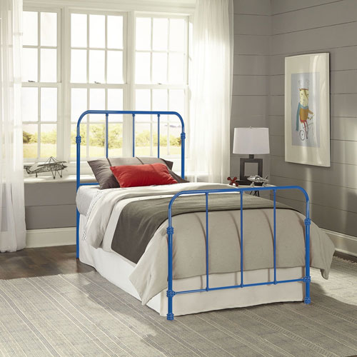 Nolan Cobalt Blue Twin Complete Kids Bed with Metal Duo Panels