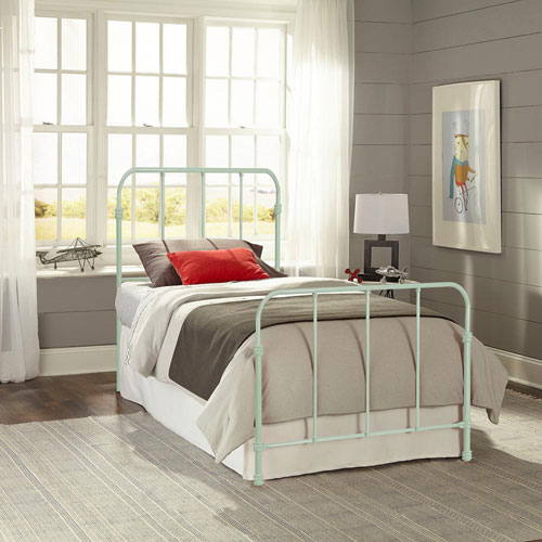 Nolan Mint Green Twin Complete Kids Bed with Metal Duo Panels