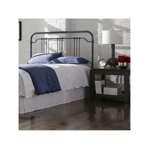 Fashion Bed Group Wellesly Marbled Navy Metal California King Headboard with Straight Top Rail and Rounded Corners