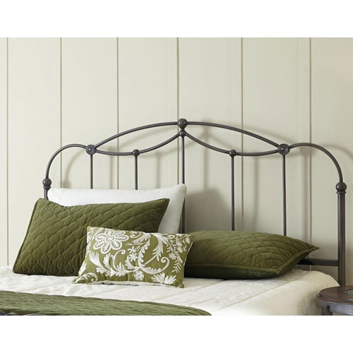 Affinity Blackened Taupe Metal California King Headboard Panel with Straight Spindles and Detailed Castings