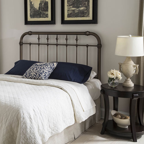 Fashion Bed Group Vienna Aged Gold Queen Headboard with Metal Spindle Panel and Carved Finials