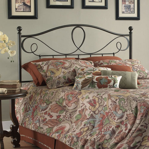 Sylvania French Roast Metal California King Headboard with Curved Grill Design and Finial Posts