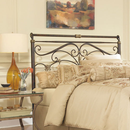 Lucinda Marbled Russet Metal California King Headboard with Intricate Scrollwork and Sleighed Top Rail Panel