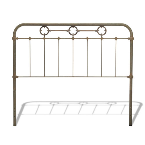 Fashion Bed Group Madera Rustic Green Metal California King Headboard Panel with Brass Plated Designs and Castings