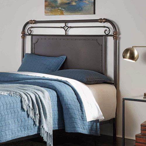 Westchester Blackened Copper California King Metal Headboard with Vintage-Inspired Panel Design and Nailhead Detail