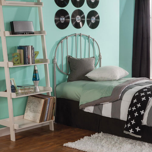 Fashion Bed Group Emory Kids Gray Full Metal Headboard Panel with Oval Shape Design