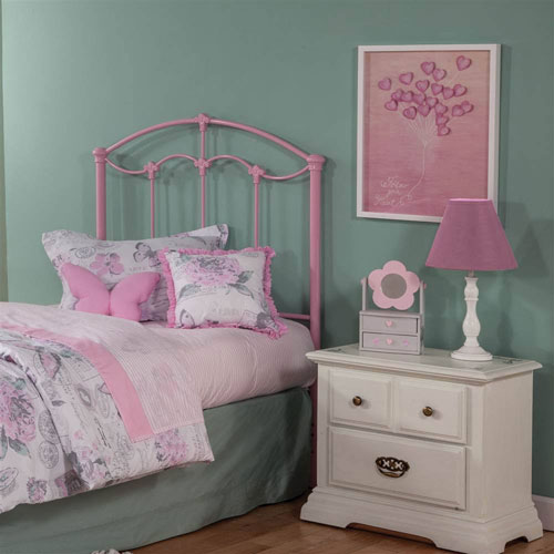 Amberley Kids Pastel Pink Twin Metal Headboard Panel with Elegant Curves and Floral Medallions Accents