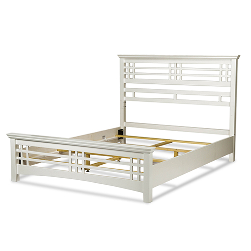 Avery Cottage White Complete California King Bed with Wood Frame and Mission Style Design