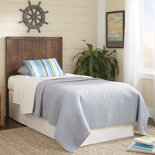 Porter Kids Brushed Walnut Wood Full Headboard with Natural Knotting and Patina