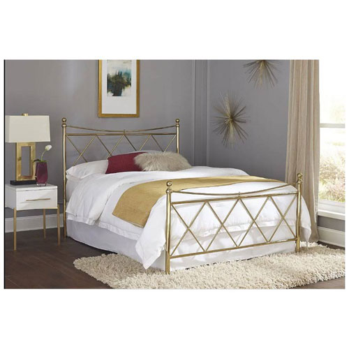 Lennox Classic Brass Queen Bed with Metal Duo Panels and Diamond Pattern Design