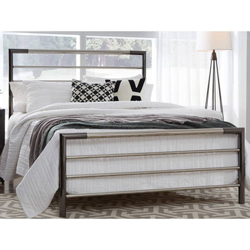 Fashion Bed Group Kenton Chrome and Black Nickel Complete King Metal Bed with Horizontal Bar Design