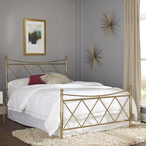 Lennox Classic Brass Complete Queen Bed with Metal Duo Panels and Diamond Pattern Design