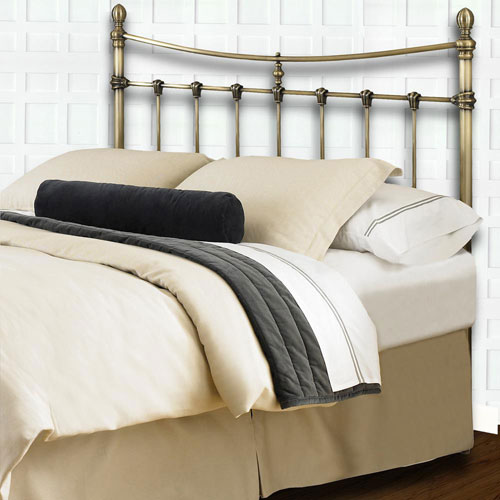 Fashion Bed Group Leighton Antique Brass Metal California King Headboard with Rounded Posts and Scalloped Castings