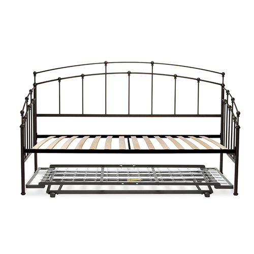 Fashion Bed Group Fenton Black Walnut Twin Complete Metal Daybed with Euro Top Deck and Trundle Bed Pop-Up Frame