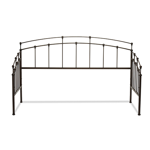 Fenton Black Walnut Twin Metal Daybed Frame with Spindle Panels and Finial Globe Castings