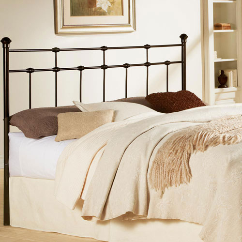 Fashion Bed Group Dexter Hammered Brown California King Metal Headboard with Decorative Castings and Globe Finials