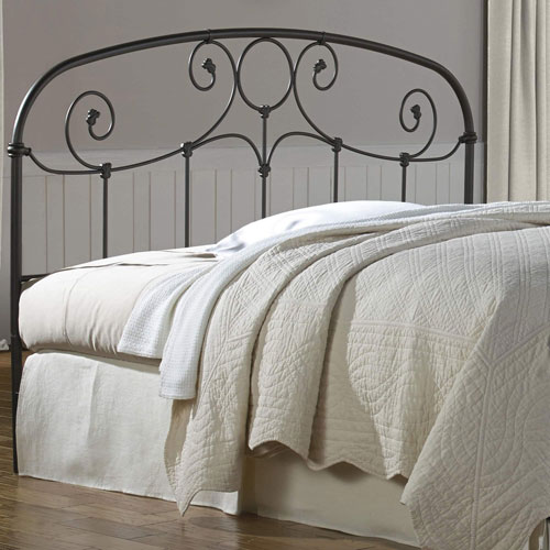 Fashion Bed Group Grafton Rusty Gold Metal California King Headboard with Scrollwork Design and Decorative Castings