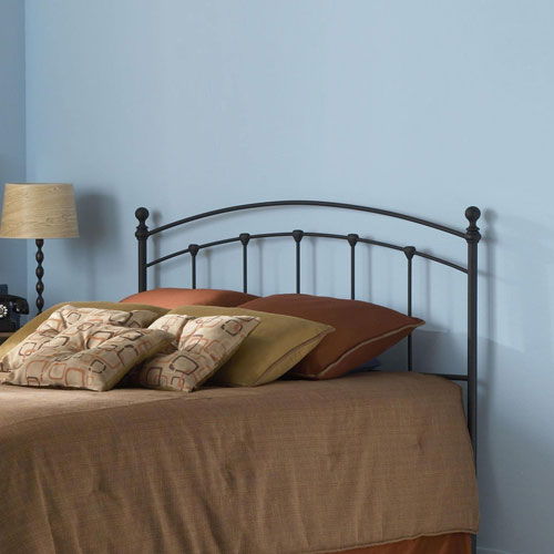 Fashion Bed Group Sanford Matte Black Metal California King Headboard with Castings and Round Finial Posts