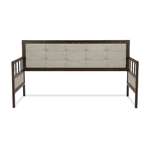 Fashion Bed Group Gotham Brushed Copper Twin Metal Daybed with Latte Finished Button-Tufted Upholstery and Brass Studs
