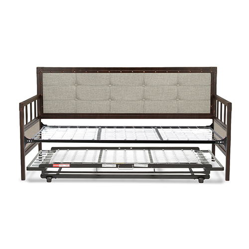 Fashion Bed Group Gotham Brushed Copper Twin Complete Metal Daybed With Link Spring And Trundle