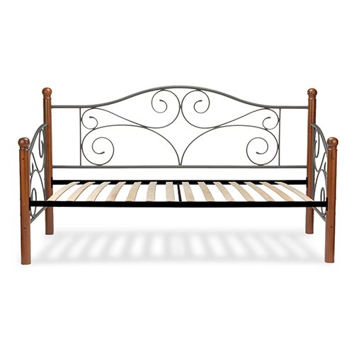Fashion Bed Group Doral Matte Black Twin Complete Metal Daybed with Scrolled Spindle Panels and Euro Top Deck