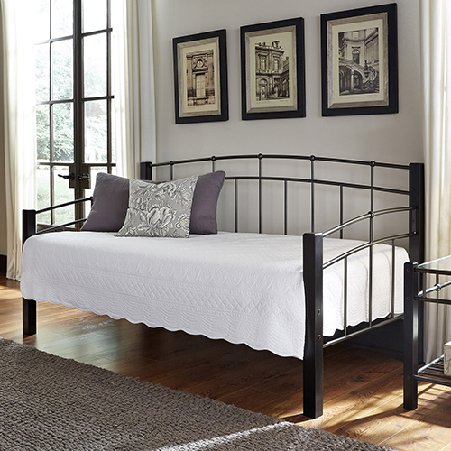 Scottsdale Black Speckle Twin Metal Daybed with Sloping Top Rails and Dark Espresso Wooden Posts