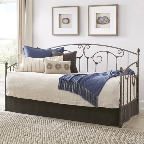 Fashion Bed Group Hinsdale Antique Pewter Twin Complete Metal Daybed with Link Spring and Trundle Bed Pop-Up Frame