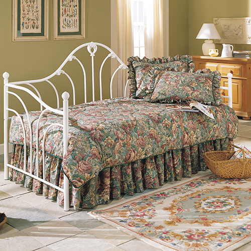 Fashion Bed Group Emma Antique White Twin Metal Daybed Frame with Curved Spindles and Camelback Arch