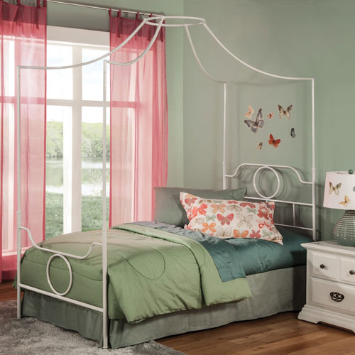Emsworth White Full Complete Kids Metal Canopy Bed With Geometric Shape Design