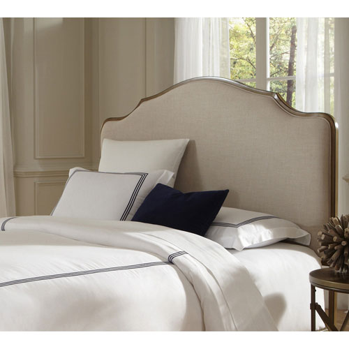 Calvados Natural Oak Metal Queen Headboard with Sand Colored Upholstery
