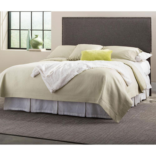 Fashion Bed Group Brookdale Jitterbug Gray King Upholstered Headboard Panel with Solid Wood Adjustable Frame and nail head