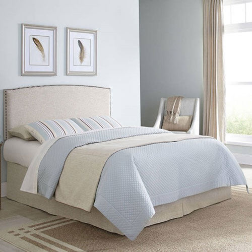 Princeton Light Wheat Twin Adjustable Headboard with Upholstered Panel and Nail Head Trim Design
