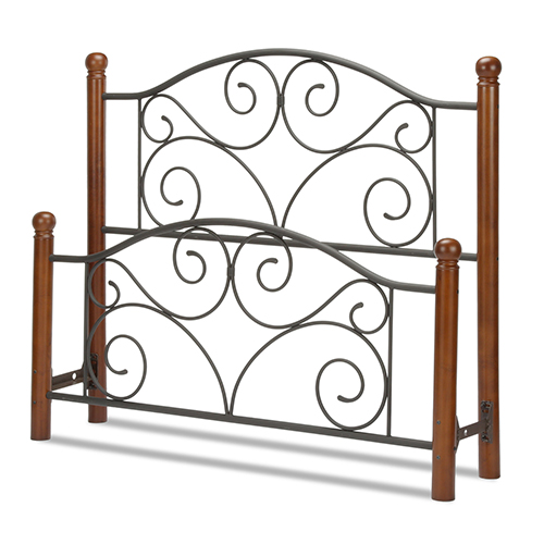 Fashion Bed Group Doral Matte Black King Bed with Metal Panels and Dark Walnut Wood Posts
