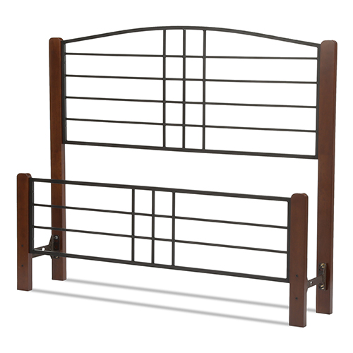 Dayton Black Grain Queen Bed with Metal Panels and Flat Wooden Posts