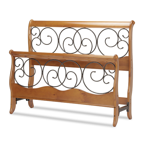 Dunhill Honey Oak Queen Bed with Wood Sleigh Style Frame and Autumn Brown Metal Swirling Scrolls